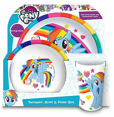 My Little Pony | Rainbow Dash Tumbler, Bowl & Plate Melamine Mealtime Set