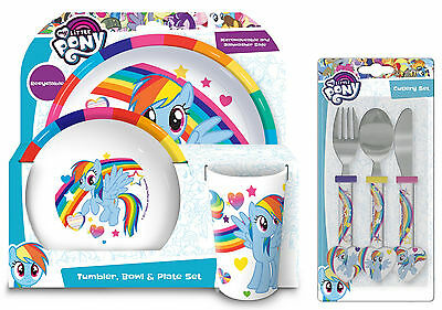 My Little Pony | Rainbow Dash 6pc Tumbler, Bowl, Plate Set & Cutlery | Mealtime