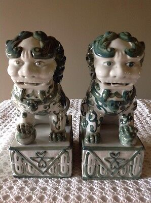 Vintage Antique Chinese Clay Porcelain Pair Foo Dogs