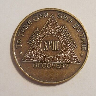 aa bronze alcoholics anonymous 18 year sobriety chip coin token medallion