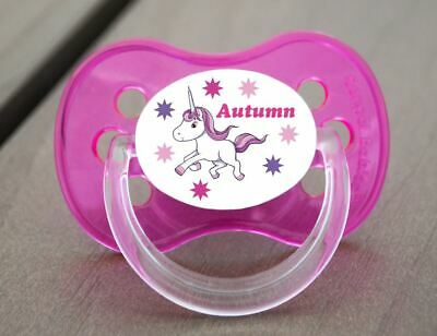 Personalised Dummy Pacifier Soother, All Teats, Sizes & Colours, Unicorn