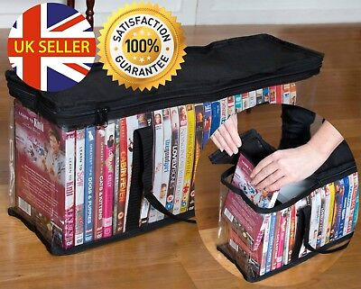 Large Clear Plastic Holds DVD CD Storage Holder Easy Zip Closure Carry Bag