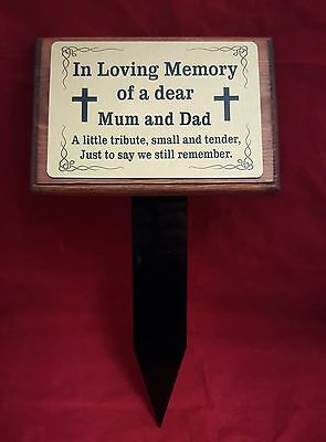 Wooden Memorial Stake Grave Tree Marker Cremation Personalised Mum and Dad
