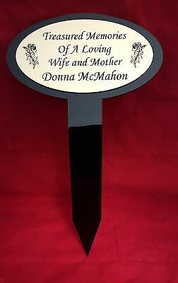 Perspex Memorial Stake Grave Tree Marker Cremation Personalised With Any Name