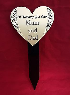 Heart Shape Perspex Memorial Stake Grave Tree Marker Cremation Personalised
