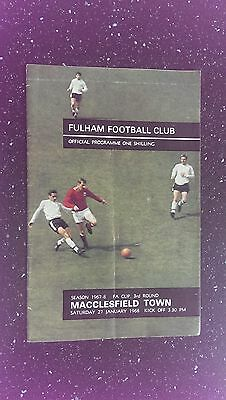 Fulham V Macclesfield Town 1967-68