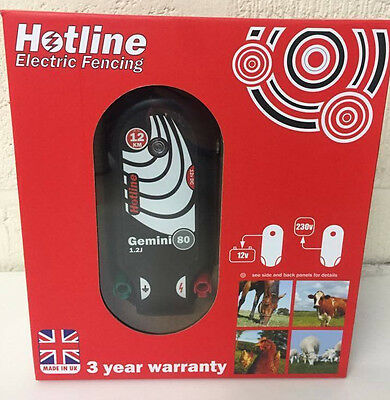 Hotline Gemini 80 Mains or Battery Electric Fence Energiser - 12 km - Made in UK