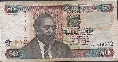 Kenya 50/-  1.4.2006  Prefix BZ Circulated Banknote