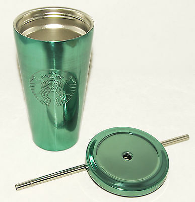 STARBUCKS High Shine Turquoise STAINLESS COLD CUP Tumbler METAL STRAW 2016 NEW