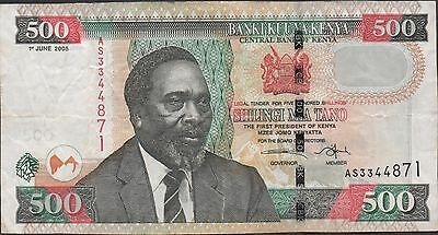 Kenya 500/-  1.6.2005  Prefix AS Circulated Banknote