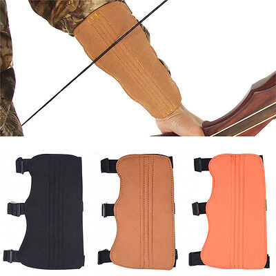 Archery Hunting Arm Guard Fiber Hand Bow Protect Safety Gear 3 Straps Armguard