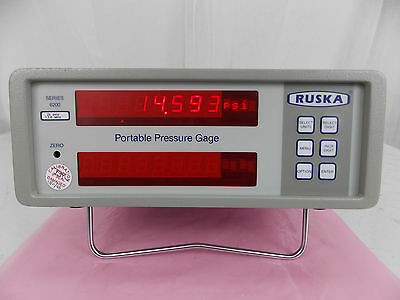 Ruska 6200 Series Portable Pressure Gage 2K Psia 13.8 Mpa W/ Power Adapter