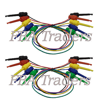 Mini Grabber IC Test Lead Jumper 5 colors (10 pcs with 12 Inches Hook Clip)