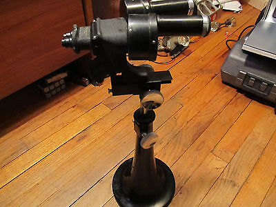 Vintage 1920s/1930s Bausch & Lomb Pedestal Vertical Binocular Stereo Microscope