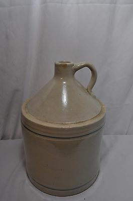 "Vintage Crock Jug Stoneware Whiskey Pottery Jar Cream with Blue Stripes 13"" x 9"""