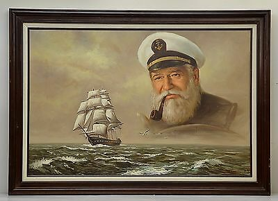 Oil Painting Old Sea Captain Signed By S K Smith Framed 399 00