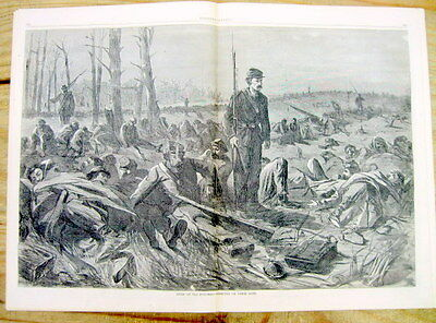 1864 illust Civil War newspaper BATTLE OF THE WILDERNESS U S Grant Robert E Lee