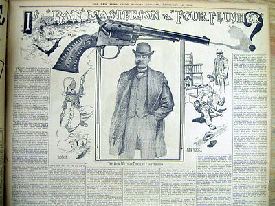 1905 newspaper w illustrated poster display BAT MASTERSON as Wild West LAWMAN