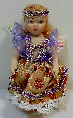 Vtg 4'' Miniature Porcelain Angel Doll Hand-Made Clothes Key-Chain Key-Ring B
