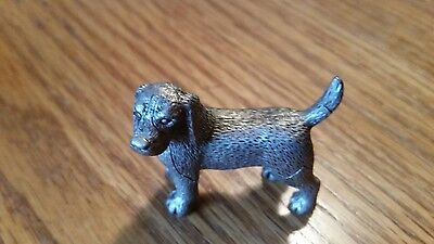 """Small Signed FORT Pewter Beagle Puppy Figurine - 1 1/2"""""""
