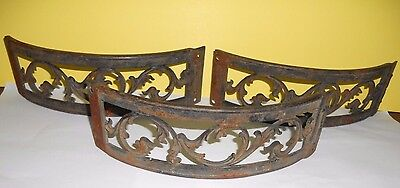 3 Pieces Vintage Cast Iron Rusty Architectural Salvage Decorative Ornate Parts