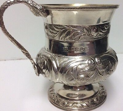 English Silver Cup  Pitcher With Two Snakes On The Handle