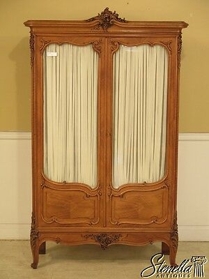 42125E: Vintage French Carved Walnut 2 Door Armoire w. Glass Doors