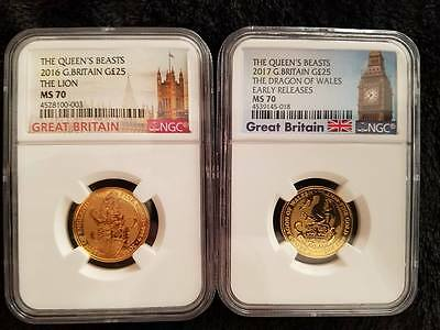 1/4 oz Gold Queen's Beast Coins NGC MS 70