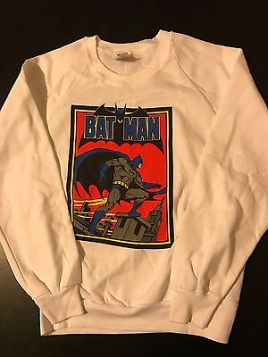 Vintage 80s Batman Youth Kids Sweatshirt DC Comics Superhero Movie TV