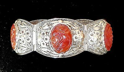 """Antique Chinese Carved Carnelian Sterling Silver Bracelet Marked 6 3/4"""" RARE"""
