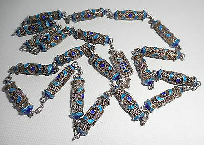 Antique Vintage Chinese Sterling Silver Blue Enamel Cloisonne Long Necklace