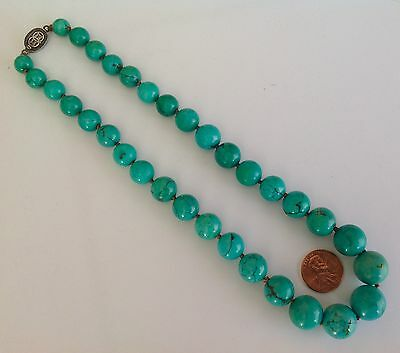 Vintage Chinese Turquoise Graduated Necklace Marked Silver Clasp 15mm - 9mm