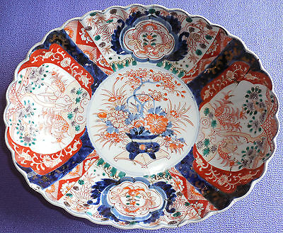 "Large Oval Antique 13""x11""x3 1/2"" Japanese Imari Porcelain Plate Scalloped Edge"