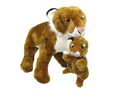 Soft Plush Standing Tiger & Cub - 68cm, by Cuddles Time. - White and Brown