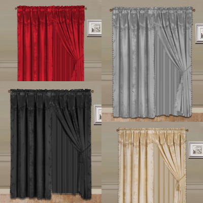 4Pc Leaf Design Silky Valance Panel Sheer Rod Pocket Window Curtain Treatment