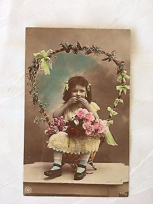 Vintage/antique - Postcard - Colour - Little Girl With Flowers - Not Used