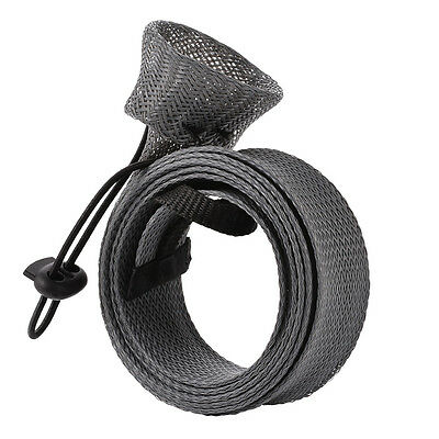 Protable Solid Color Expandable Braided Fishing Rod Sleeve Spinning Rod Cover