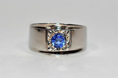 Spectacular .60ct D'Block Tanzanite 14kt White Gold Mens Ring