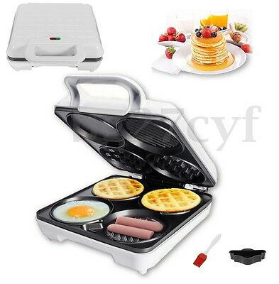 AU 1000w 3in1 Belgian Cake Egg Waffle Maker Snack Non Stick Oven Machine Plates