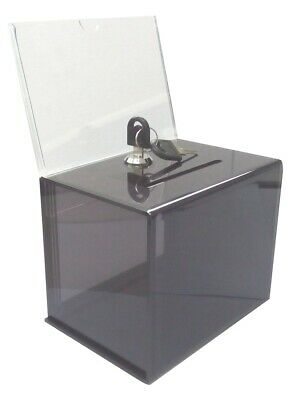 Clear Acrylic Ballot Box Dnation Box Tip Sales Lead Box Collection Sign Holder