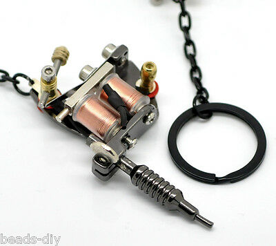 "New Gunmetal Mini Tattoo Machine Key Chains & Key Ring 5 7/8""x1 5/8"" Cute Mini 1"