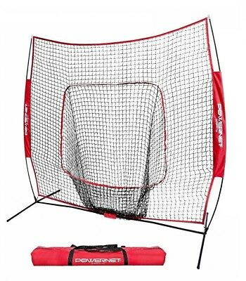 PowerNet Hitting Practice Net & Frame 7X7 Baseball/Softball (Red) w/Carrying Bag