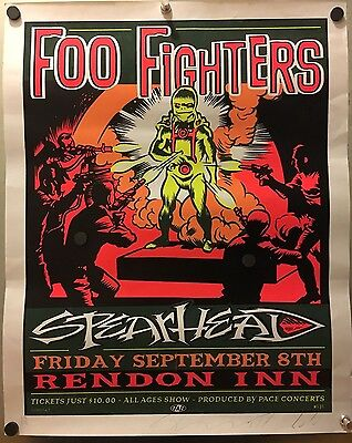 "Foo Fighters 1995 New Orleans Concert Poster with Signature ""Spearhead"""