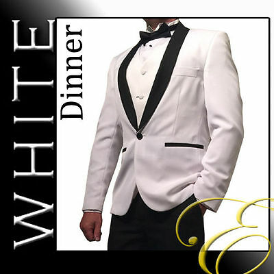 NEW WHITE DINNER TUXEDO MENS SUIT WEDDING SCHOOL FORMAL MENSWEAR - Aus Seller-