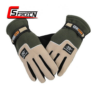 Men Windproof Winter Outdoor Fleece Gloves Riding Full Finger Glove Olive Drab