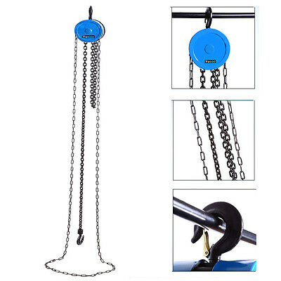 1 Ton Alloy Steel Chain Block Tackle Hoist Garage Car Engine Heavy Load Lifting