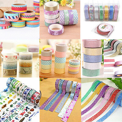 DIY 10M 10 ROLLS Washi Tape Book Decor Scrapbooking Adhesive Paper Sticker Craft