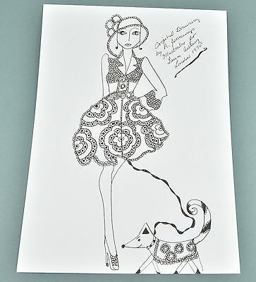 Roz Jennings Fashion Drawing Original Art Work Illustrator Laura Ashley 1970s P