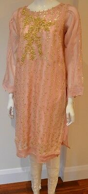 Agha Noor Pink Kurta With Gold Embroidery