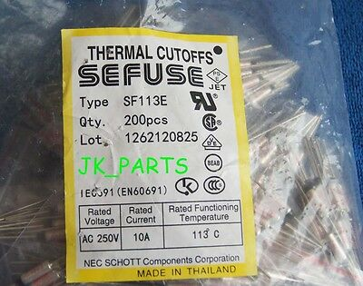 10pcs SF113E SEFUSE Cutoffs NEC Thermal Fuse 113°C Celsius Degree 10A 250V